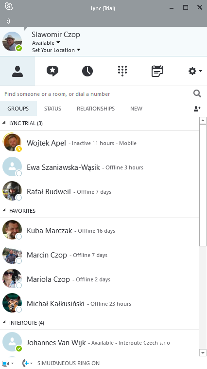 Skype dla firm - interfejs - główne okno programu
