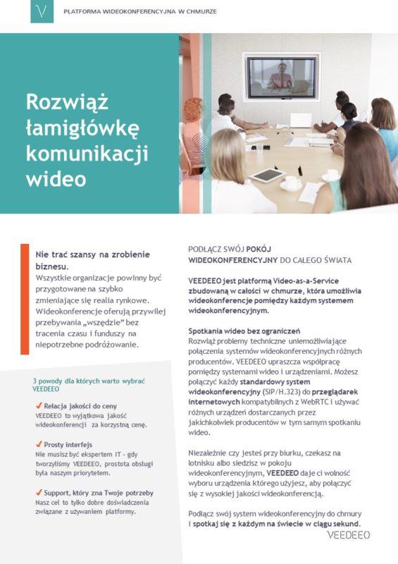 Usługi wideokonferencyjne w chmurze VEEDEEO - broszura